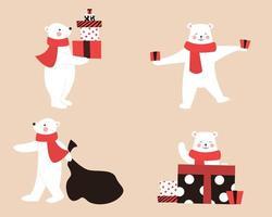 ijsbeer met cadeauset vector