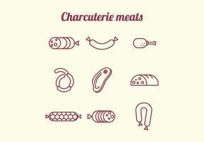 Charcuterie Meats Pictogrammen vector