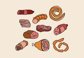 Charcuterie Meats Doodles vector