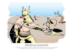 David en Goliath Vector Illustratie