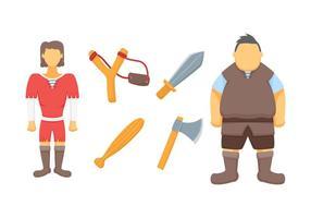 Vrijstaande David en Goliath-vectoren vector