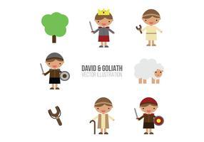 David & Goliath Set Van Platte Illustraties vector