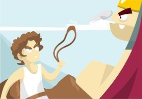 David en Goliath Illustratie vector