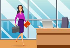 Business Woman In Office Vector