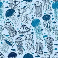 blauwe kwallen naadloze patroon