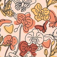 orchideeën en vlinders naadloze patroon vector