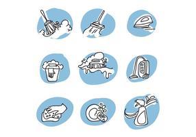 Doodled Pictogrammen Over Reiniging