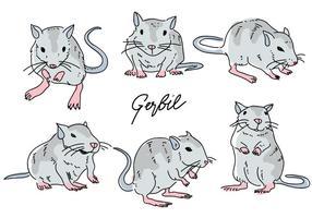 Gerbil Mouse Pose Hand Drawn Krabbel Vector Illustratie