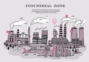 Industriële Zone Rook Stack Krabbel Vector Illustratie