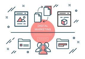 Gratis Lineaire Digital Marketing Elements vector