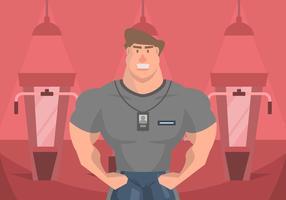 Muscleman Persoonlijke Trainer Illustratie vector