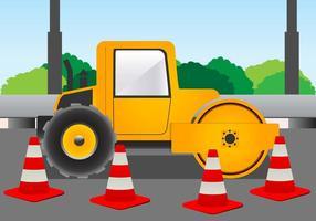 Road Roller voor de bouw op de Road Vector