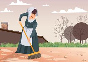 Maid Sweeping Patio Vector