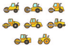 Set Steamroller Icons vector