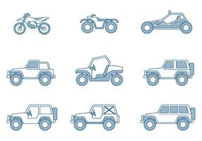 Off-road Vehicle Icons vector