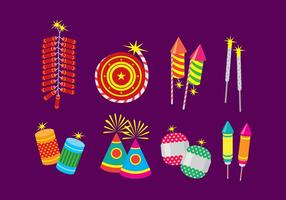 Diwali Fire Cracker Platte pictogrammen vector