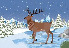 Sneeuw Caribou Achtergrond Vector Illustartion