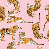 hand getrokken tijger naadloze patroon vector