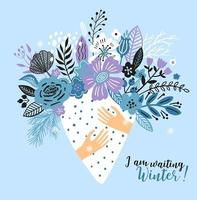winterkaart met een boeket bloemen