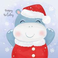 kerst wenskaart met schattige baby hippo