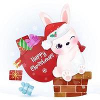 kerst wenskaart met schattige konijntje