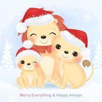 kerst wenskaart met schattige leeuw familie