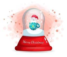 schattige kat in beker in glazen cloche voor eerste kerstdag
