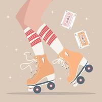 hand getekende illustratie met benen en rolschaatsen