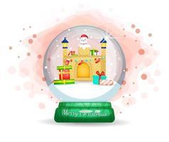 schattige kerstman vast in schoorsteen in snowglobe