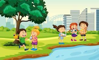 kinderen brengen hun huisdieren naar het park