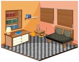 woonkamer met meubels isometrisch
