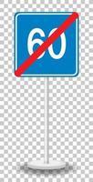 blauwe minimumsnelheid 60 verkeersbord met standaard geïsoleerd op transparante achtergrond