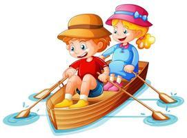 jongen en meisje roeien de boot op witte achtergrond vector