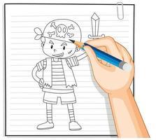 hand tekening van meisje met paraplu overzicht
