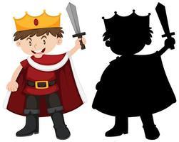 jongen in ridderkostuum met zijn silhouet