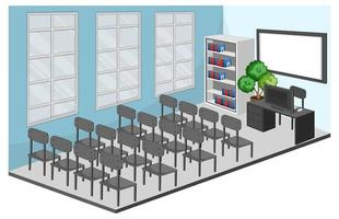 vergaderruimte of klaslokaal interieur met meubilair