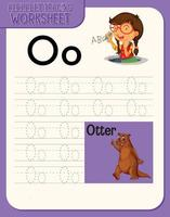 alfabet overtrekken werkblad met letter en woordenschat
