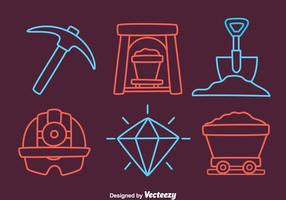 Cave Mine Element Icons Vector