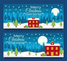 kerst- en nieuwjaarsbannersjablonen met winters tafereel