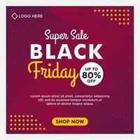 paarse gradiënt zwarte vrijdag verkoop sociale media sjabloon voor spandoek vector