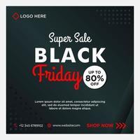zwart, wit, rood zwarte vrijdag verkoop sociale mediasjabloon