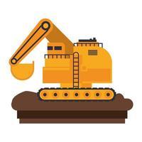 bouw voertuig en machines platte pictogram vector