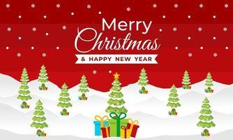 kerstmis en nieuwjaarsbanner met winters tafereel vector