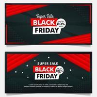 zwarte vrijdag verkoop banner sjablonen in zwart en rood vector