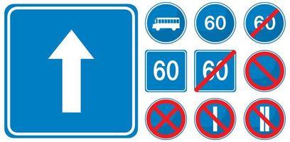 set van blauwe verkeersborden geïsoleerd op een witte achtergrond