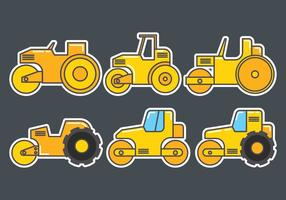 Road Roller Icons Set vector