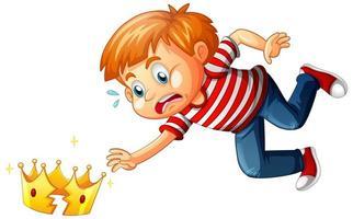 een jongen met gebroken kroon op witte achtergrond
