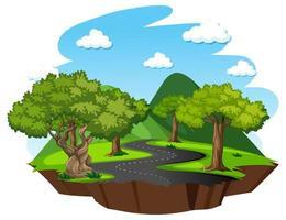 bos met natuurelementen op witte achtergrond vector