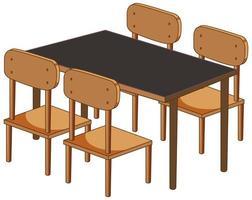 een bureau met vier stoelen geïsoleerd op een witte achtergrond