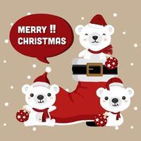 kerstberen met santa's laars en ornamenten